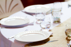 Wedding Reception Place Setting at Table Stock Image