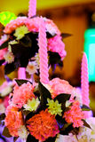 Wedding reception in purple light Royalty Free Stock Photo