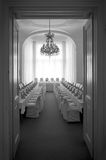 Wedding reception room. Black and white picture Royalty Free Stock Images