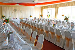 Wedding reception room. Or ballroom ready for the guests royalty free stock photo