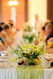Wedding reception - selective focus on flowers Stock Image