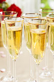 Wedding reception setting with champagne Stock Photos