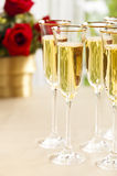 Wedding reception setting with champagne Royalty Free Stock Photos
