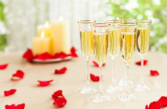 Wedding reception setting with champagne Stock Images
