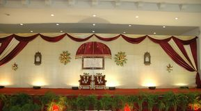 Wedding and reception stage. South indian wedding or reception stage and any stage stock image