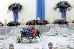 Wedding Reception Table. A general view of a beautifully laid table seen here at a wedding reception. You can see the table, place numbers and names and cutlery Royalty Free Stock Photos