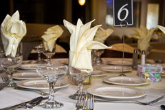Wedding reception table. A table set at a wedding reception dinner Royalty Free Stock Photography