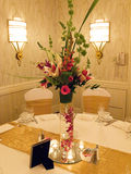 Wedding Reception Table. A flower arrangement on the table at a wedding reception Stock Image