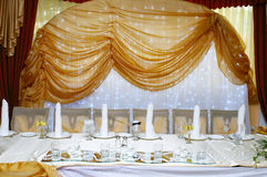 Wedding reception table arrangement Royalty Free Stock Photo