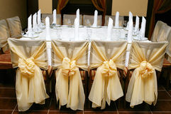 Wedding reception table arrangement Royalty Free Stock Image
