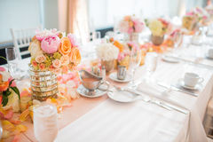 Wedding Reception Table Centerpieces Royalty Free Stock Photo
