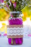 Wedding Reception Table Decor. Table decor and decorations at a wedding reception outdoors Royalty Free Stock Photos