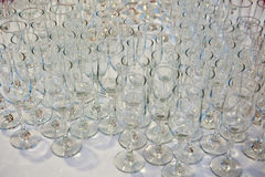 Wedding reception table decoration with glasses Royalty Free Stock Images
