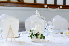 Wedding reception table decorations Stock Photos