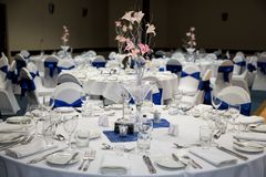 Function Room Set Up For A Wedding Royalty Free Stock Images