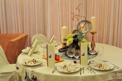 Wedding reception table setting Stock Image