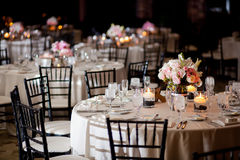 Wedding Reception Tables. Tables with centerpieces at a formal event or wedding reception Stock Image
