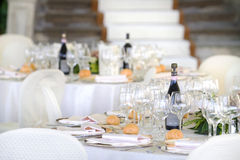 Wedding reception tables. Tables decorated for a party or wedding reception Stock Images
