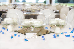Wedding reception tables Royalty Free Stock Images