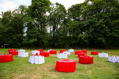 Wedding Reception Tables Outdoors Royalty Free Stock Photos
