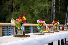 Wedding Reception Tables. Tables are set and ready for a wedding reception in Oregon Royalty Free Stock Photography