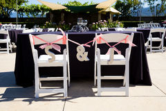 Wedding Reception Tables. Tables are set and ready for a wedding reception in Oregon Royalty Free Stock Image