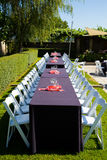 Wedding Reception Tables. Tables are set and ready for a wedding reception in Oregon Stock Photos