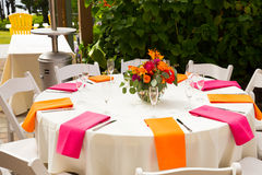 Wedding Reception Tables. Tables are set and ready for a wedding reception in Oregon Royalty Free Stock Photo
