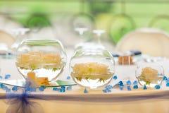 Wedding reception tables stock image