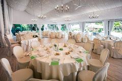Wedding reception venue in a large marquis Royalty Free Stock Photo