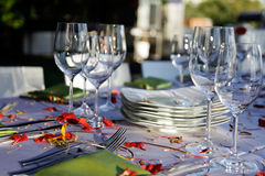 Wedding Reception. Wedding  table outdoor.  Stock Images