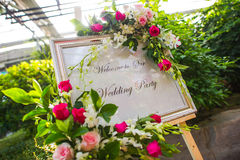 Wedding reception. A welcome sign at a wedding reception Royalty Free Stock Photography
