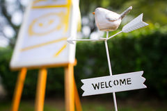 Wedding reception. A welcome sign at a wedding reception Close-up of bird Royalty Free Stock Photo