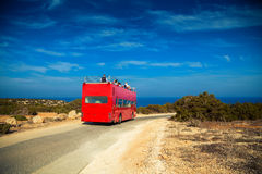 Wedding red bus in Cyprus. Wedding special traditional red bus in Cyprus, it is used for tourists who come to the island for marriage Royalty Free Stock Photo