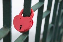 Wedding red lock, heart. Symbol of love stock image