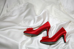 Wedding red shoes Royalty Free Stock Photography