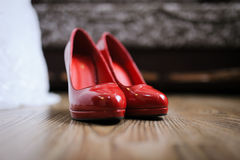 Wedding red shoes Royalty Free Stock Photo
