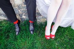 Wedding red socks, shoes Stock Images