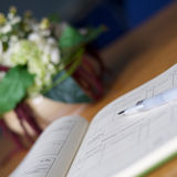 Wedding register with pen Royalty Free Stock Images