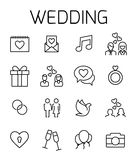Wedding related vector icon set. Well-crafted sign in thin line style with editable stroke. Vector symbols isolated on a white background. Simple pictograms Royalty Free Stock Photos