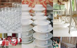 Wedding rentals collage - chairs and crockery for lot of guests. Wedding rentals collage - chairs and crockery for lot of guests Royalty Free Stock Image