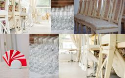 Wedding rentals collage - chairs and crockery for lot of guests. Wedding rentals collage - chairs and crockery for lot of guests Royalty Free Stock Photo