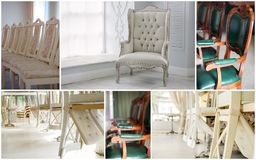 Wedding rentals collage - chairs and other furniture for guests. Wedding rentals collage - chairs and other furniture for guests Stock Photography