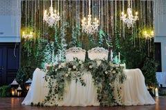 Wedding restaurant decor. Wedding restaurant white interior decor w.o people Stock Photo