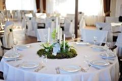 Wedding restaurant decor. Wedding restaurant white interior decor w.o people Royalty Free Stock Photo