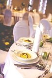 Wedding restaurant in lunch time. Royalty Free Stock Images