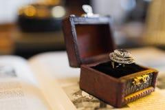 Wedding retro ring. In box royalty free stock photo
