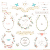 Wedding retro set. Hearts, birds and ribbons. Stock Image