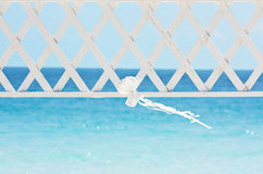 Wedding ribbon and archway. Weddind ribbon and archway on a sea bakcground Stock Photography