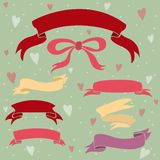 Wedding ribbons set ,hearts and bow. Royalty Free Stock Photography